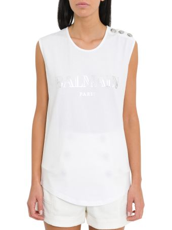 Balmain Logoed Top With Three Buttons On Shoulder