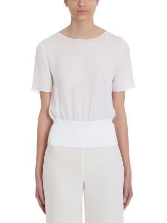 Theory Rib Ivory Silk T-shirt