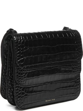 Rejina Pyo Leather Emboss Croc Duck Egg Shoulder Bag