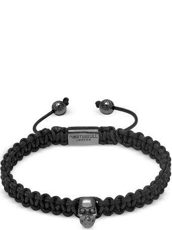Northskull Atticus Skull Macramé Bracelet In Black And Gunmetal