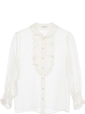 Miu Miu Lace-trimmed Organza Shirt