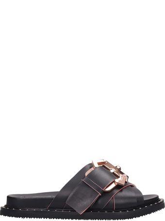 Paula Cademartori Black Leather Flats Sandals