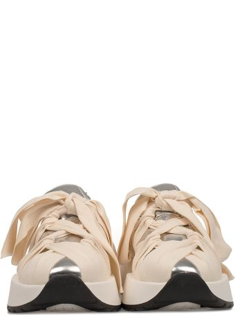 167d693aca0 MM6 Maison Margiela MM6 Maison Margiela Ivory silver Metallic Faux Leather  Slip On Wedge Sneakers - Basic - 10598075