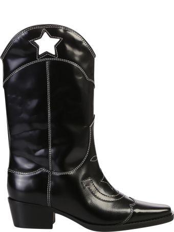 Ganni Brushed Leather Cowboy Boots