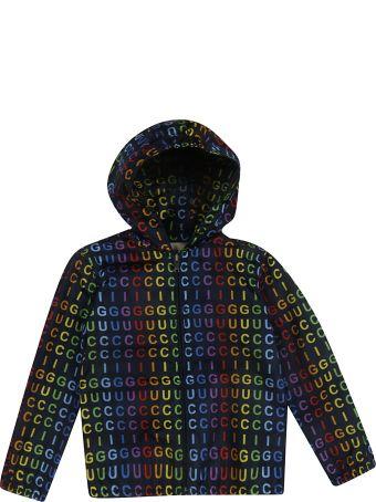 Gucci Kids Logo Print Hooded Jacket