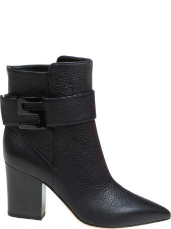 Sergio Rossi Boots Black Leather Logomaniac