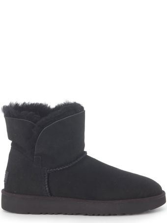 UGG Classic Cuff Mini Ankle Boots In Black Suede Leather