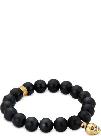 Northskull Matte Black Onyx/gold Skull Bracelet With Black Crystal