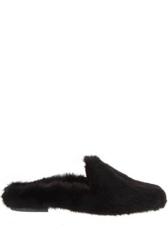 Emanuela Caruso Black Mink Fur Slippers