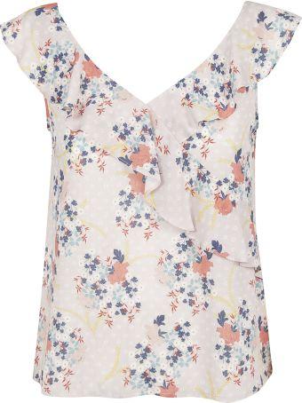 Velvet Floral Print V-neck Blouse