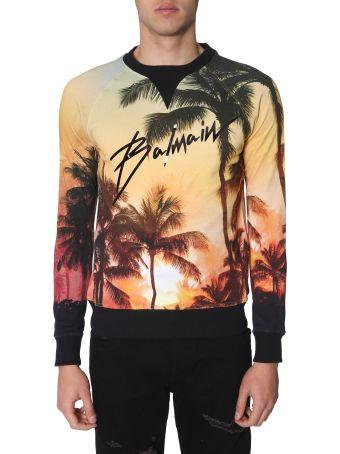 Balmain Sweatshirt With Metallic Effect Logo