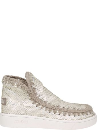 Mou Sneakers In Paillettes White Color