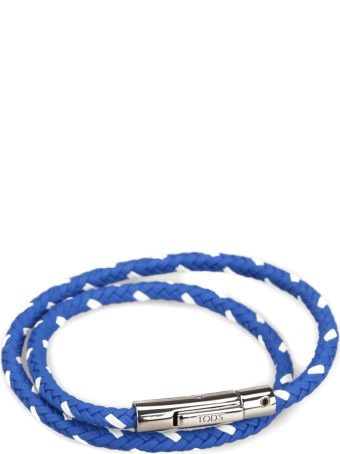 Tod's Braided Leather Double Wrap Bracelet
