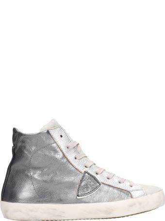 Philippe Model Grey Metallic Leather High Paris Sneakers