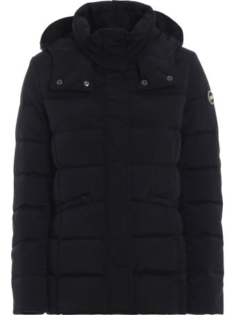 Colmar Hooded Black Puffer Jacket In Opaque Nylon