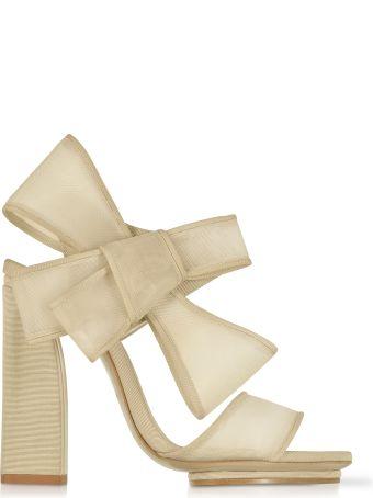 Delpozo Beige High Heel Bow Sandals