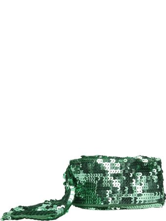 ATTICO Green Embroidered Sequinned Belt