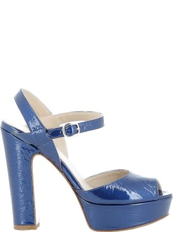 Elena Iachi Blue Leather Sandals