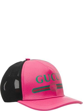Gucci Gucci Print Leather Baseball Hat
