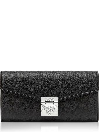 MCM Patricia Crossbody Wallet Large Black Grained Leather