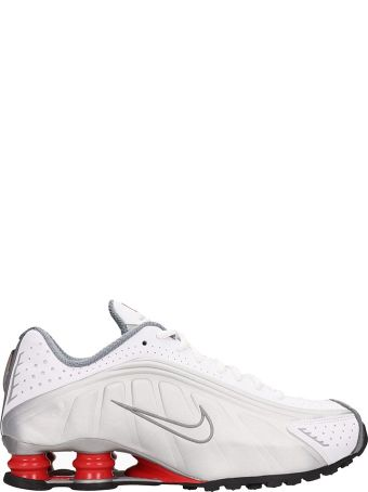 Nike White And Silver Leather Shox R4 Snaekers