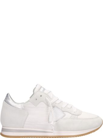 Philippe Model Tropez White Silver Suede Sneakers