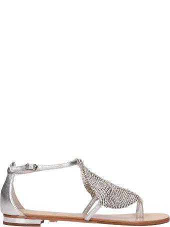 Lola Cruz Silver Leather Toe Ring Sandal