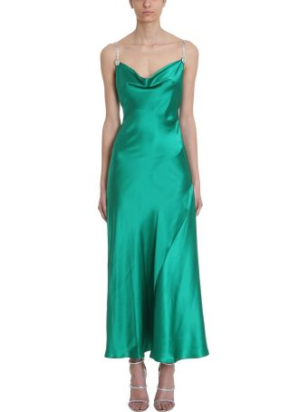 Alessandra Rich Green Silk Slip Dress