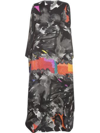 Daniela Gregis Lunedi` 3/4 Sleeves Cicoria Pattern Twill & Silk Dress