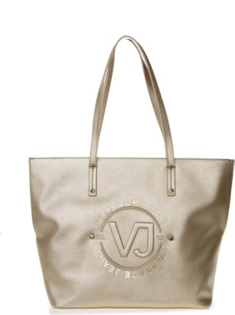 Versace Gold Tote Faux Leather Bag