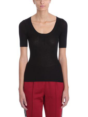 T by Alexander Wang Black Wool Skinny Rib Short Tshirt