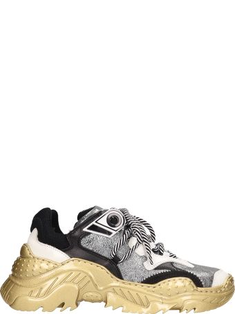 N.21 Gold-silver Technical Fabric Billy Sneakers