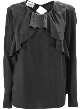 Dondup Black Blend Silk Blouse.