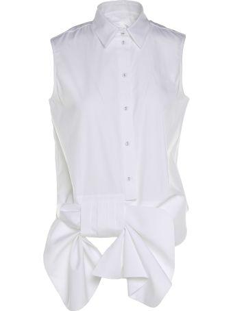 Victoria Victoria Beckham Bow-detailed Sleeveless Cotton-poplin Shirt