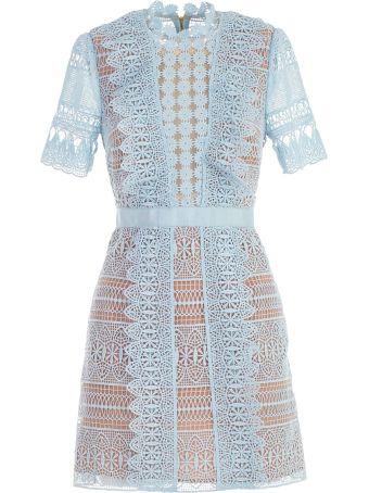 self-portrait Dress Mini Blue Spiral Panel Lace