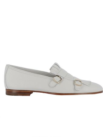 Santoni White Leather Loafers