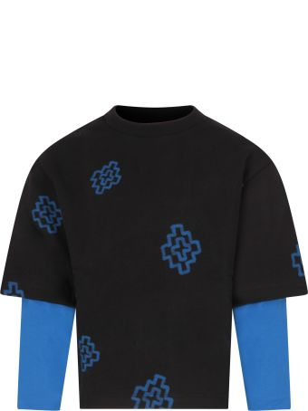Marcelo Burlon Black Sweatshirt For Boy With Blue Cross