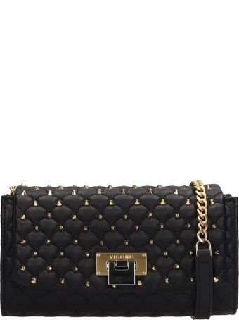 Visone Black Quilted Leather Patty Bag