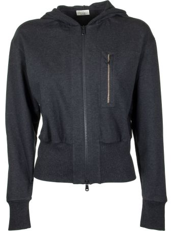 Brunello Cucinelli Anthracite Cardigan With Hood