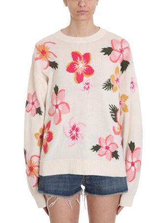 Alanui White Cashmere Floral Jumper