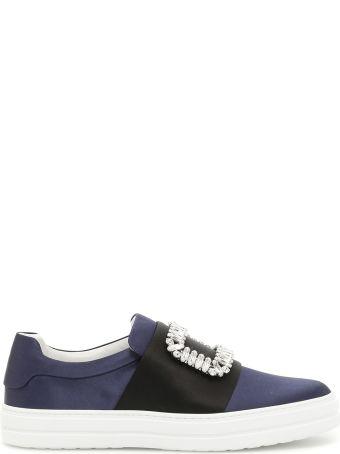 Roger Vivier Satin Sneakers With Rhinestones
