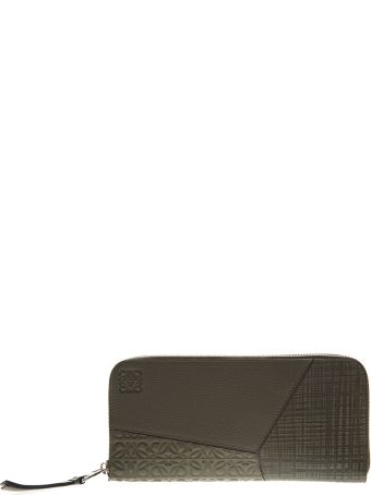 Loewe Khaki Leather Asymmetrical Block Wallet