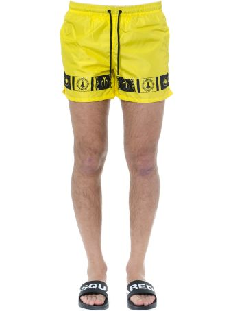 Frankie Morello Swim Shorts In Yellow And Black Technical Fabric