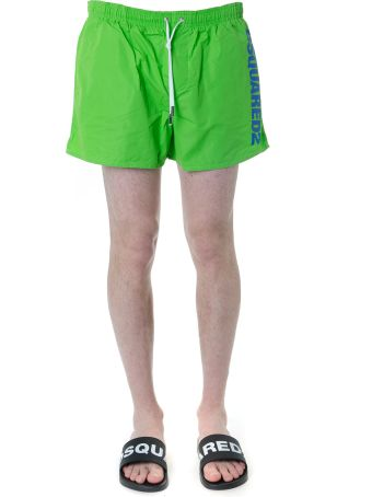 Dsquared2 Green Swim Shorts In Technical Fabric