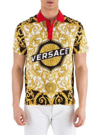 Versace  Short Sleeve T-shirt Polo Collar Hibiscus