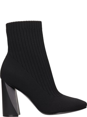 Kendall + Kylie Tina Black Fabric Sock Ankle Boots