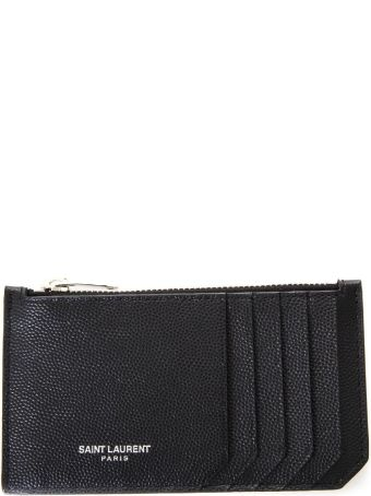 Saint Laurent Black Leather Cards Holder Grain De Poudre
