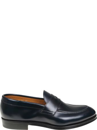 Doucal's Moccasin In Brushed Calf Color Blue