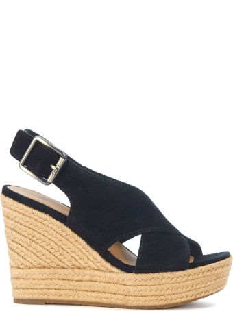 UGG Harlow Black Suede Wedge Sandal