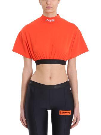 HERON PRESTON Cropped Orange Cotton Topwear